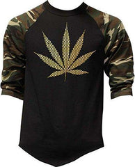 Men's Gold Foil Polka Dot Weed Leaf Camo Raglan Baseball T-Shirt 2X-Large Camo