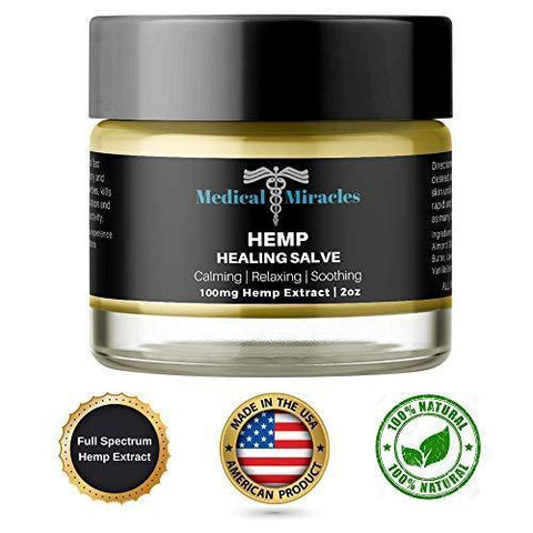 Hemp Pain Cream Salve - 100mg Full Spectrum Hemp Extract - Fast Muscle and Joint Pain Relief. 2oz