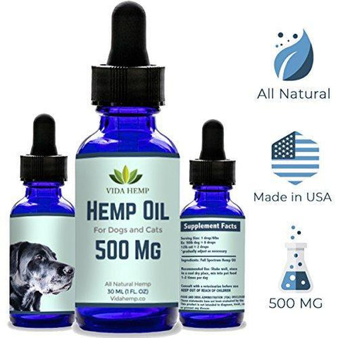 Full-Spectrum Hemp Oil (500 mg)- Provides Anxiety Relief for Dogs and Cats, Calming Effect Helps Pets Relax, Aids in Stress and Pain Treatment, Premium Organic Pure Extract Supplement Drops