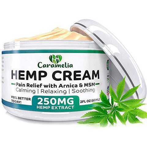 Hemp Extract Cream - 250 Mg - Made in USA - Natural Hemp Pain Relief Cream for Inflammation, Muscle, Joint, Back, Knee & Arthritis Pain - Hemp Salve Contains Arnica, MSM & 10% EMU Oil - Non-GMO