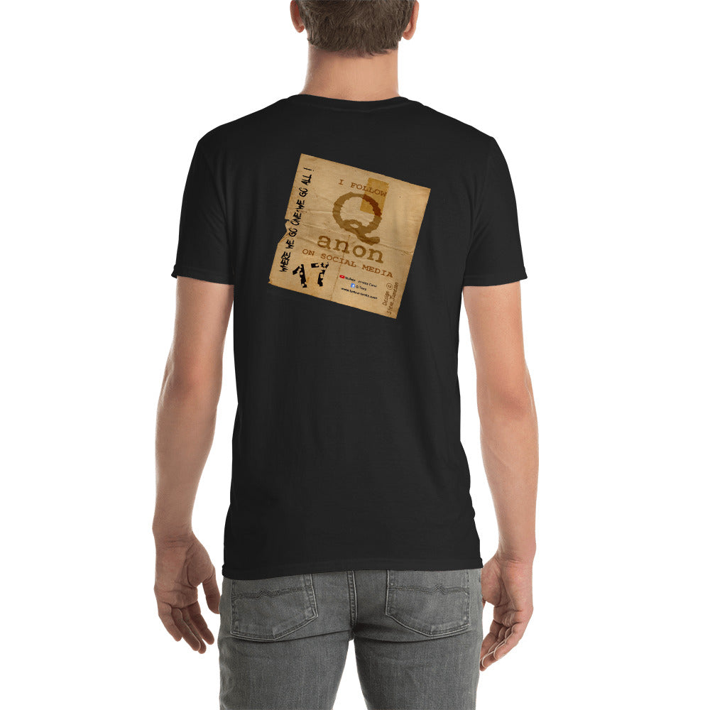 Q-Anon Crumpled Paper Logo; Black, Short-Sleeve Unisex T-Shirt (Back Printed Only)