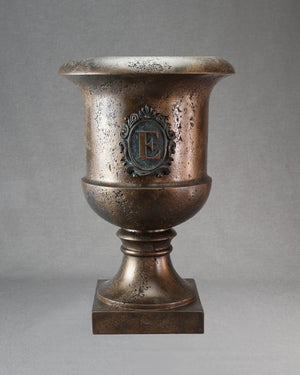 Classic Tuscan Urn - Bronze with Bronzed Slate Frame Frontporchplanter