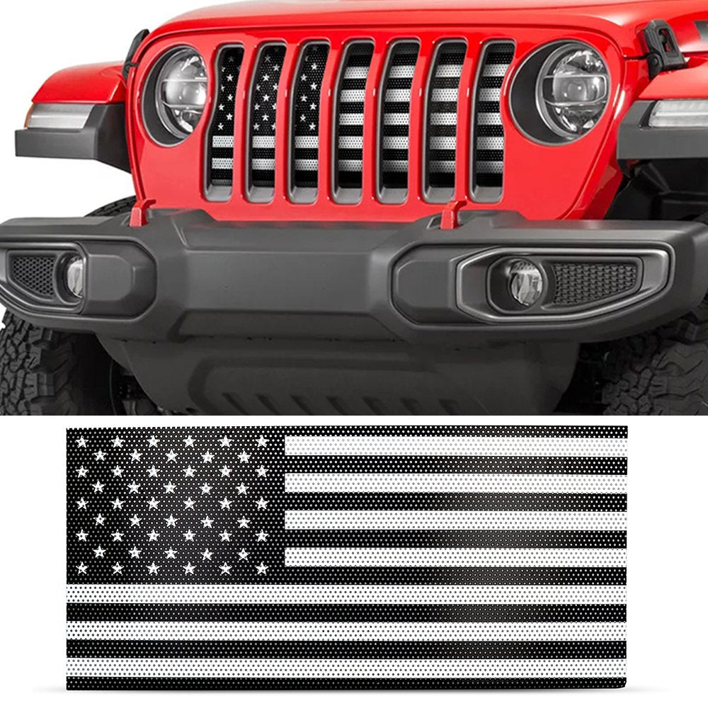 US American Flag Jeep Grille Insert Black & White