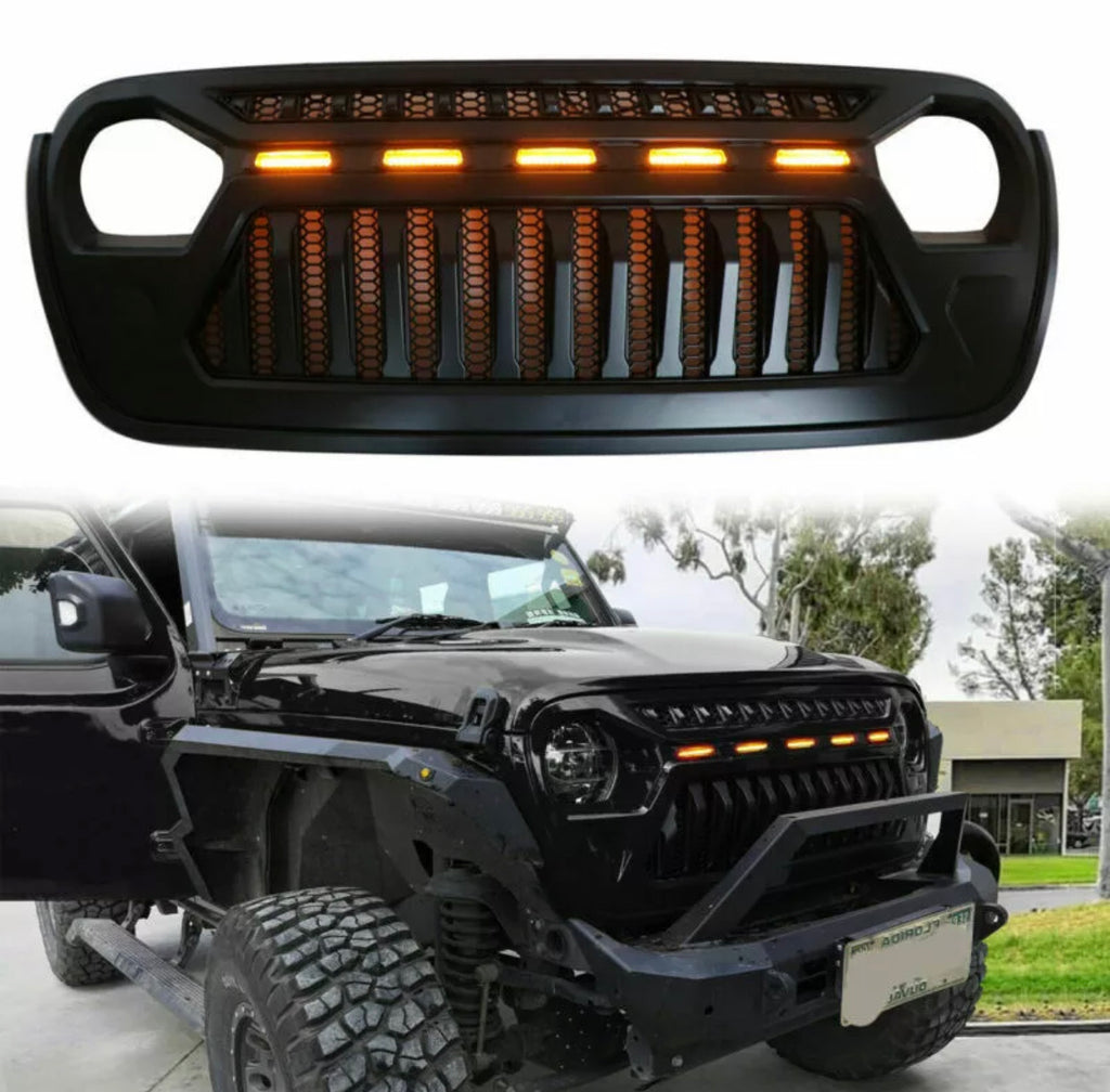 Gladiator Gear Grille w/ Amber LED Lights For 2018-2020 Jeep Wrangler JL JT