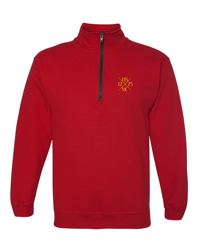 1775X USMC Adult Quarter Zip Fleece-Red