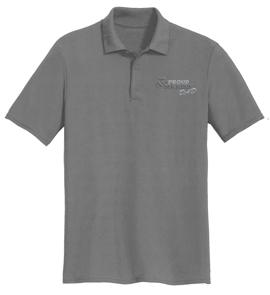Proud Marine Dad USMC Mens Polo-Charcoal