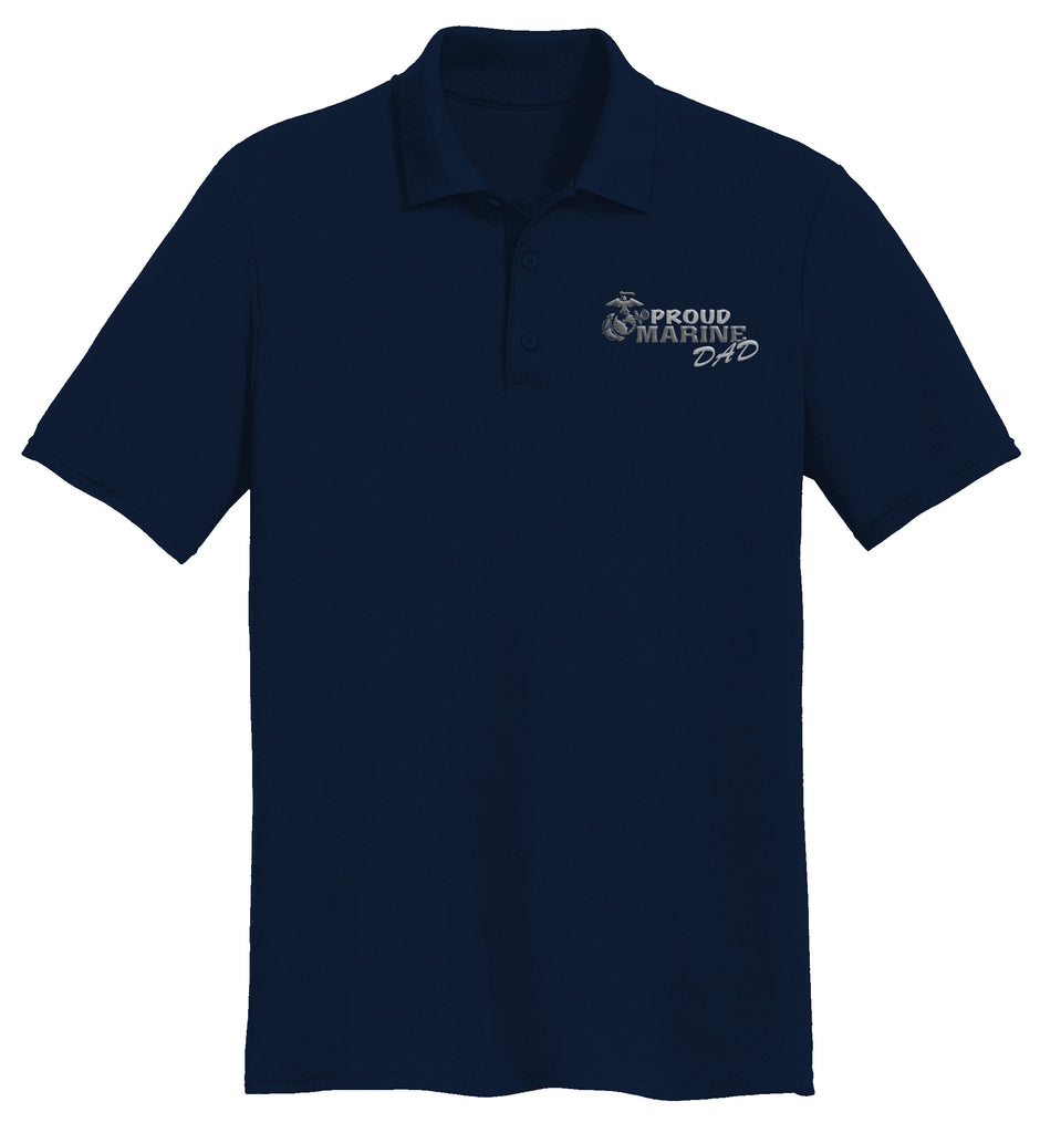 Proud Marine Dad USMC Mens Polo-Navy
