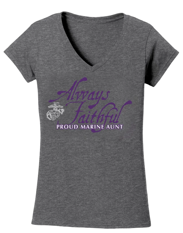 Always Faithful Proud Aunt USMC V-Neck Tee-Sport Grey