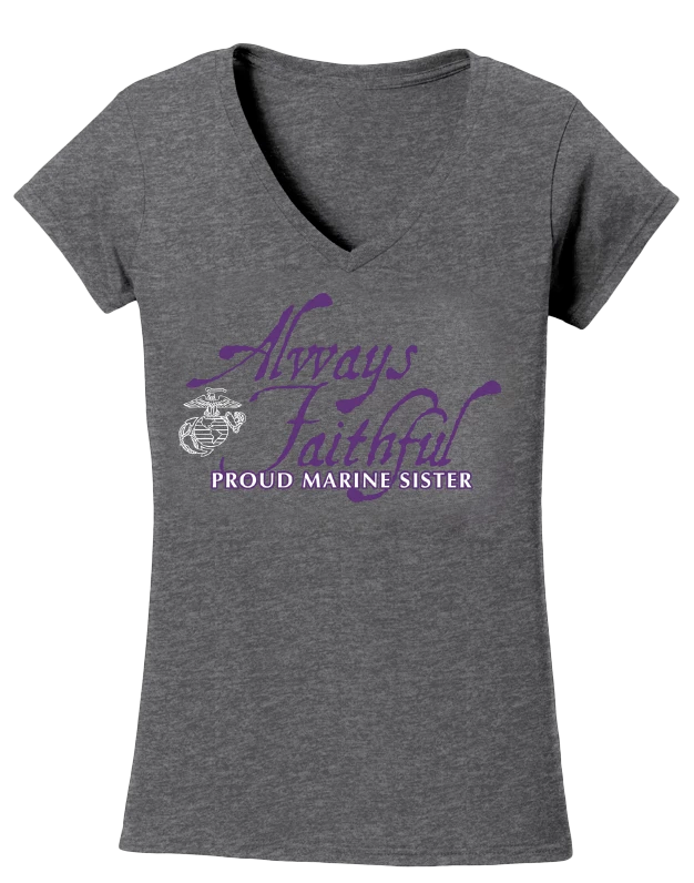 Always Faithful Proud Marine Sister USMC V-Neck Tee-Sport Grey