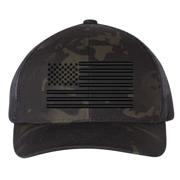 US Flag Blackout 3D Snapback Hat