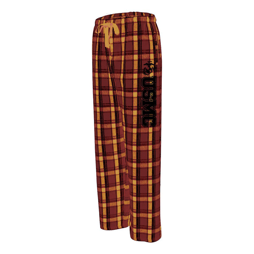 Vertical 1C USMC Adult Flannel Lounge Pants-Garnet/Gold