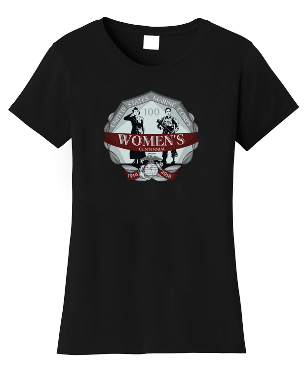 Womens Centennial USMC Ladies Tee-Black