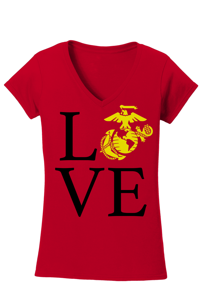 EGA Love Ladies USMC V-Neck Tee-Red