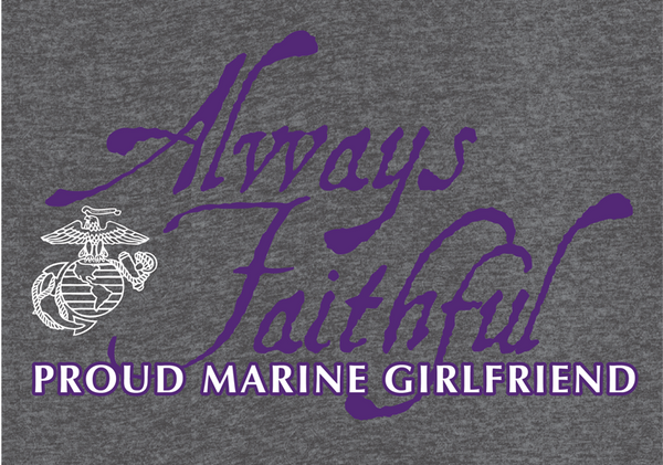 Always Faithful Proud Girlfriend USMC V-Neck Tee-Sport Grey
