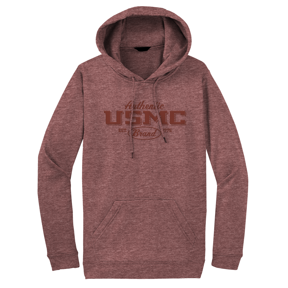 Authentic Puff USMC Adult Hoodie-Heathered Maroon