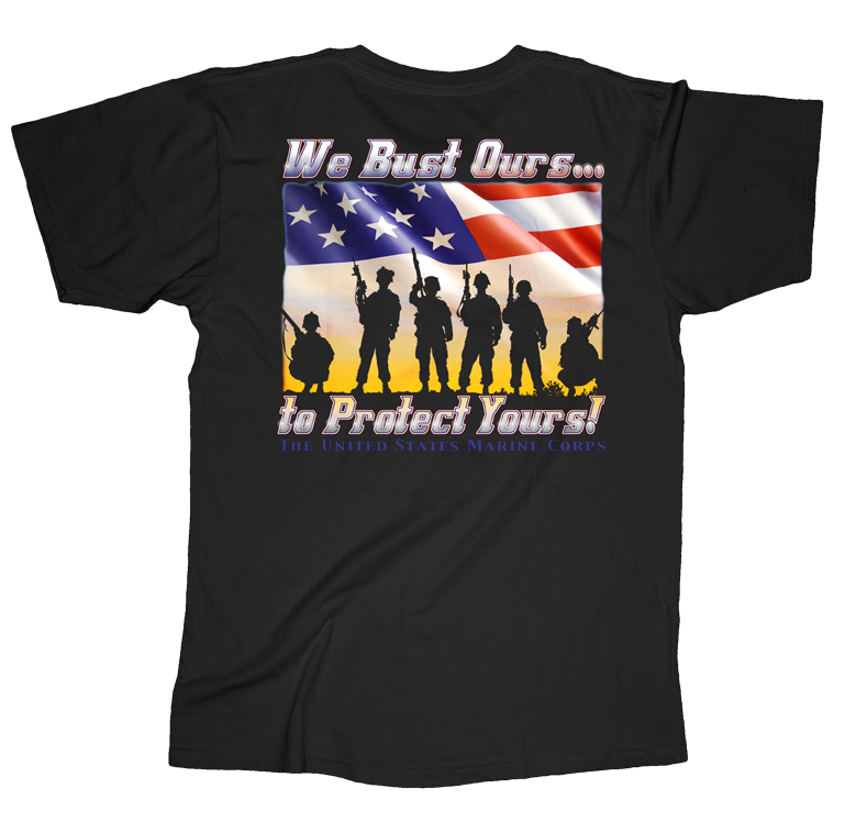 We Bust Ours Proud Dad USMC Mens Tee-Black
