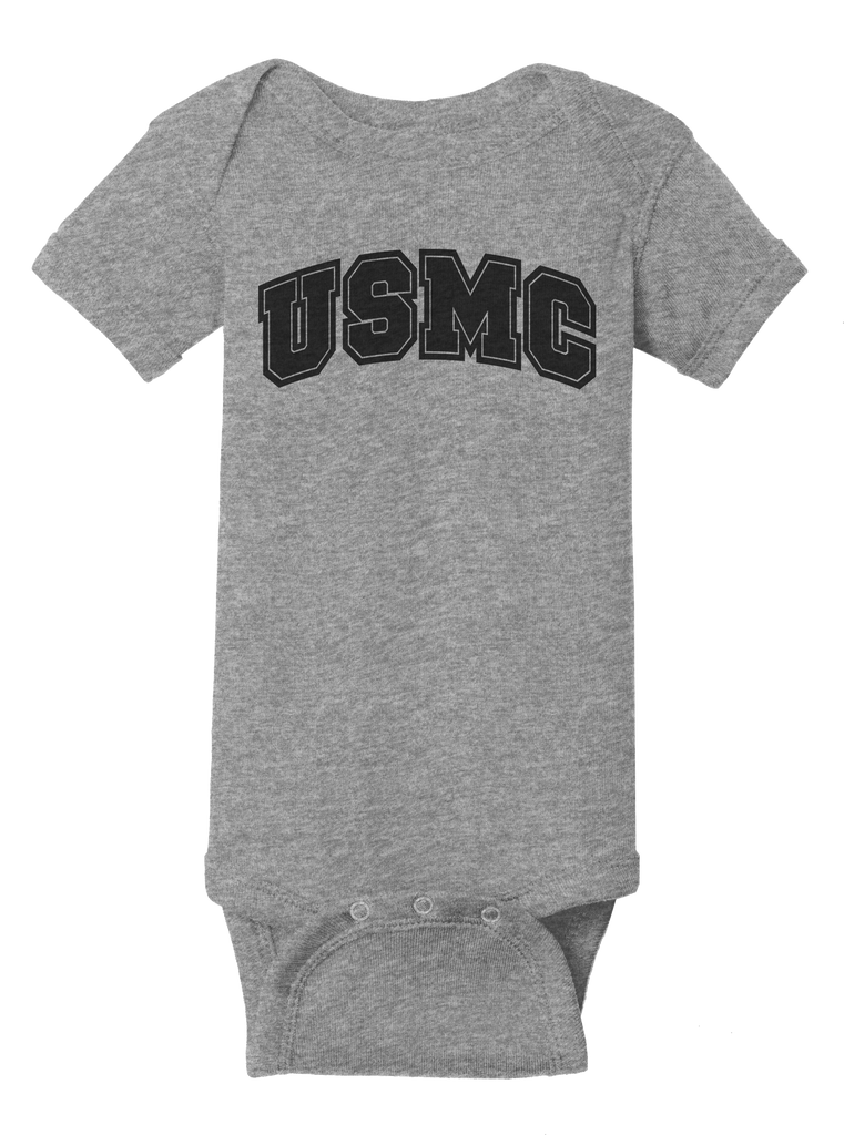 Creepers USMC Infant Short Sleeve Bodysuit-Sport Grey
