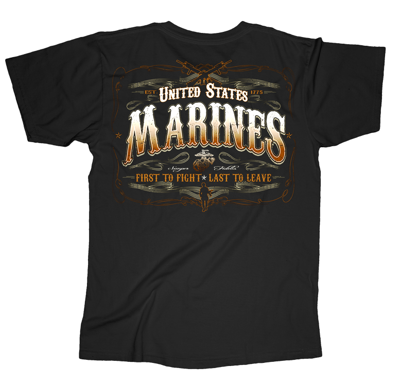 First To Fight USMC Mens Tee-Black
