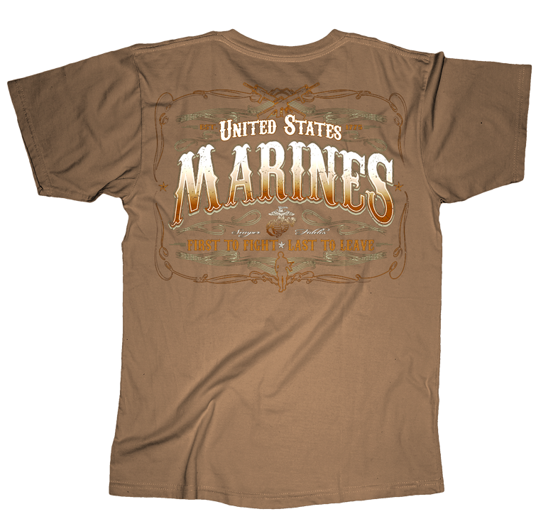 First To Fight USMC Mens Tee-Sand