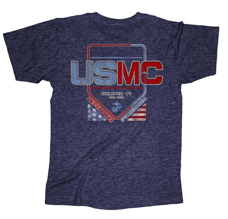Freedom USMC Mens Tee-Navy
