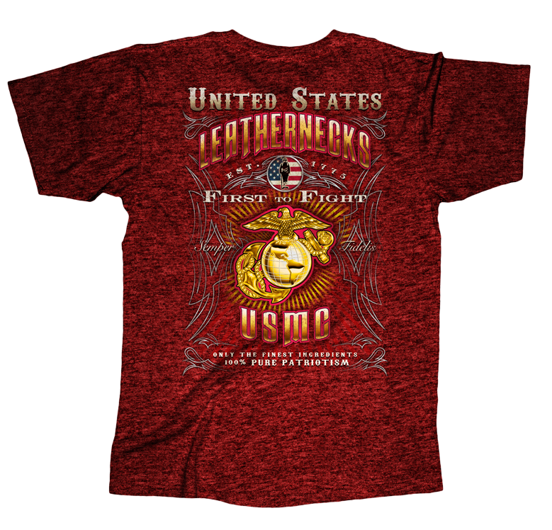 Leathernecks USMC Mens Tee-Antique Cherry Red