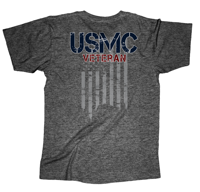 USMC Veteran Flag Mens Tee-Graphite Heather