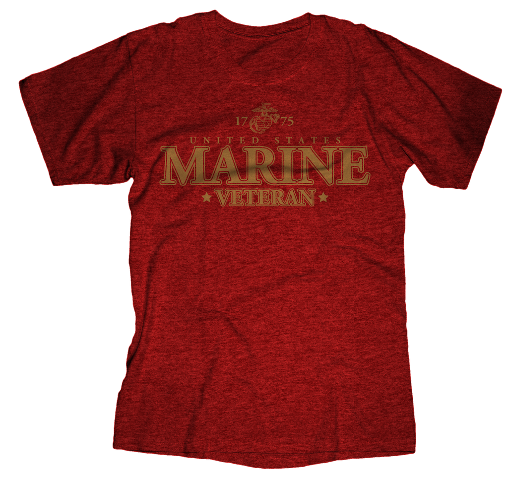 Veteran Niner USMC Mens Tee-Antique Cherry Red