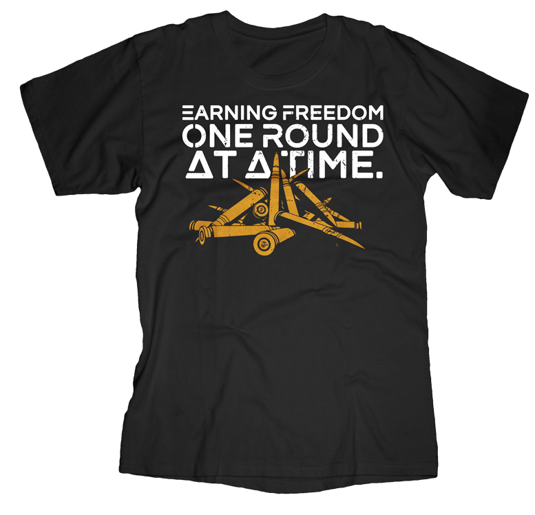 Earning Freedom 1 Round at a Time USMC Mens Tee-Black