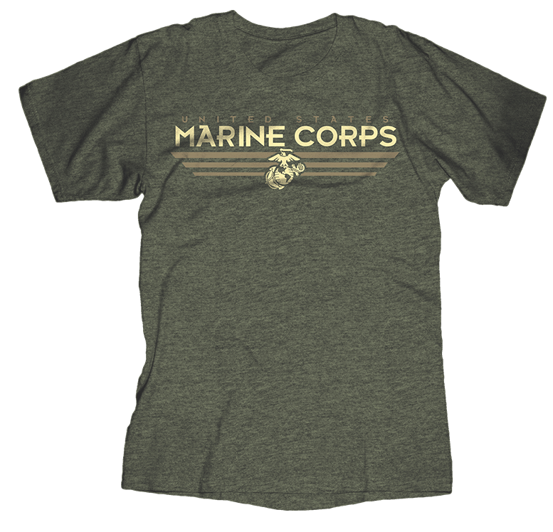 Helldiver USMC Mens Tee-Heather Military Green