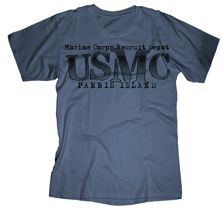 Big M Parris Island USMC Youth Tee-Indigo