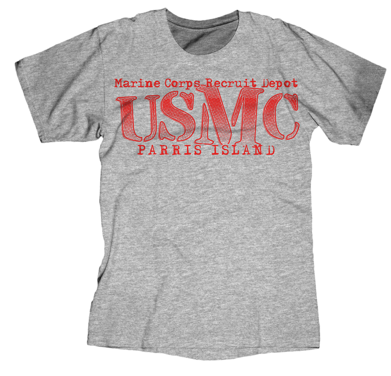 Big M Parris Island USMC Youth Tee-Sport Grey