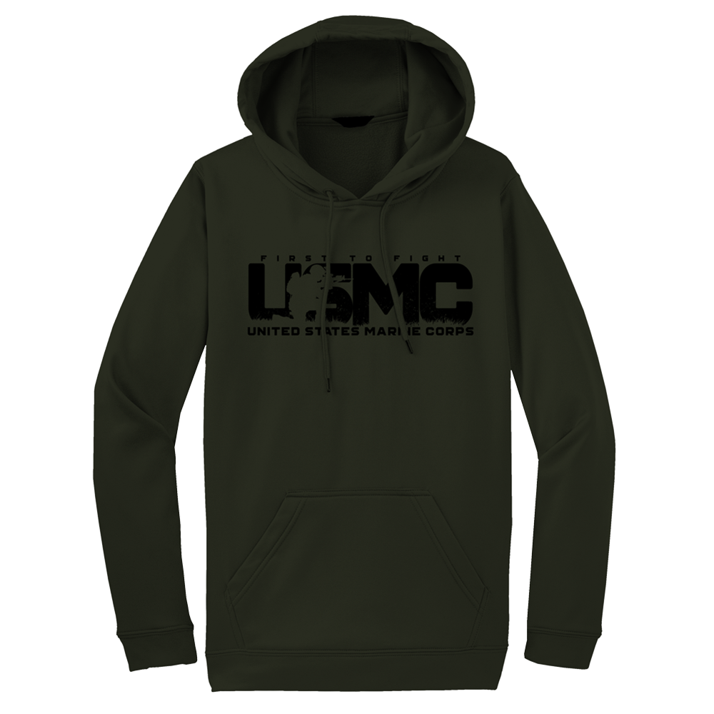 Silhouette USMC Adult Hoodie-Military Green