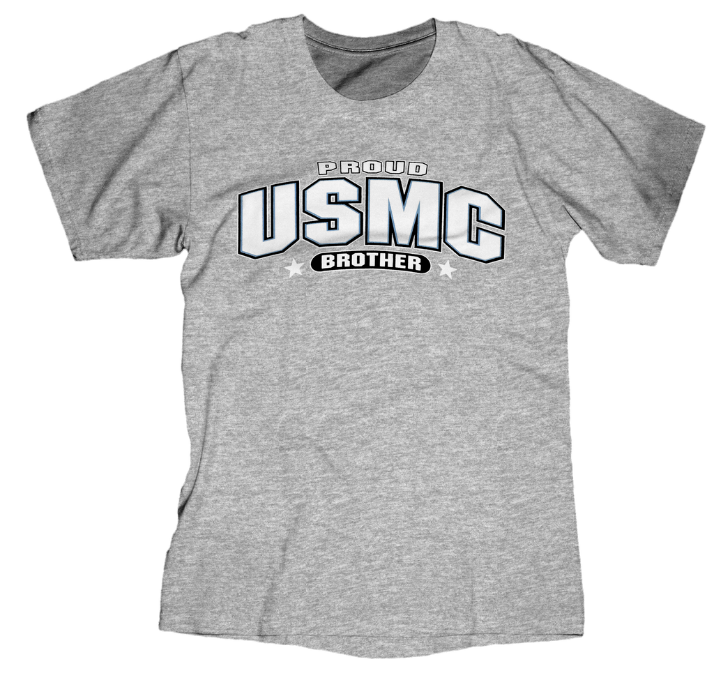 Proud Brother USMC Youth Tee-Sport Grey