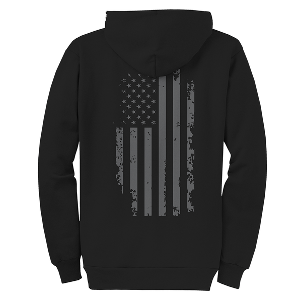 Flag Back USMC Adult Zip Hoodie-Black