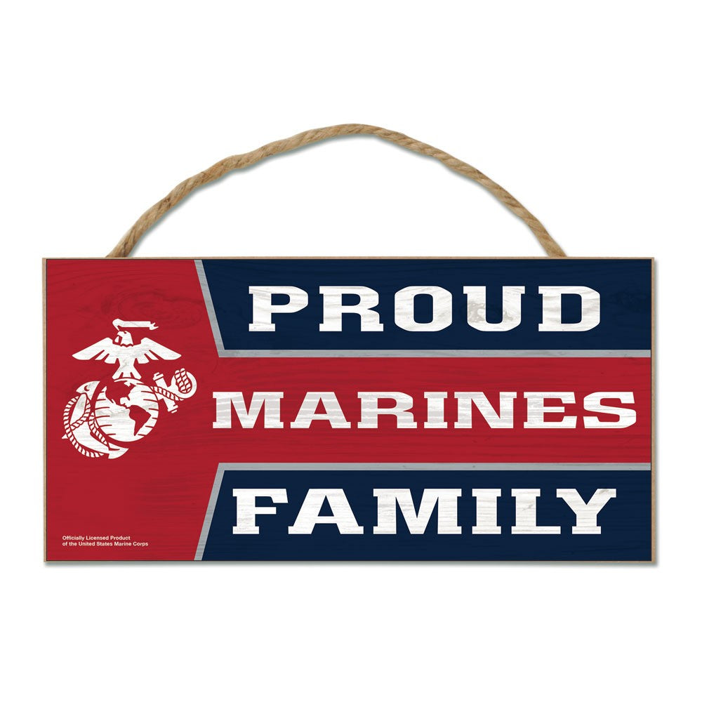 "Proud Marines Family 5""x10"" USMC Wood Sign With Rope"