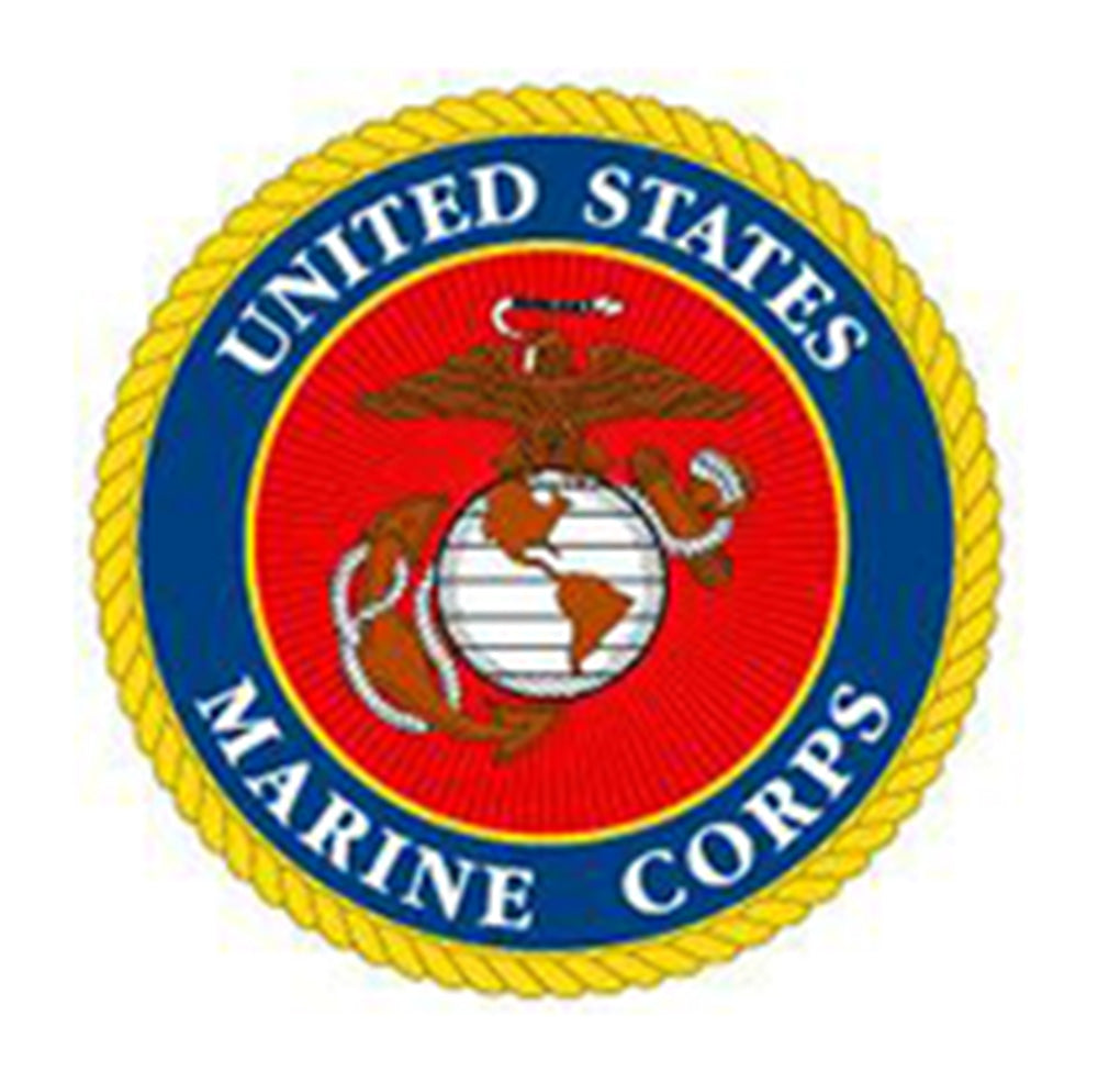 "United States Marine Corps 10"" Round USMC Patch with Yellow Rope"