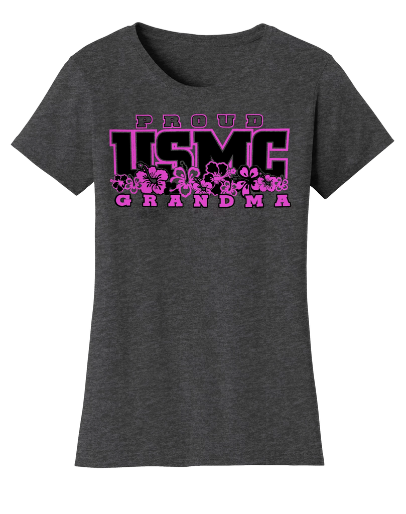 Hibiscus Proud Grandma USMC Ladies Tee-Dark Heather