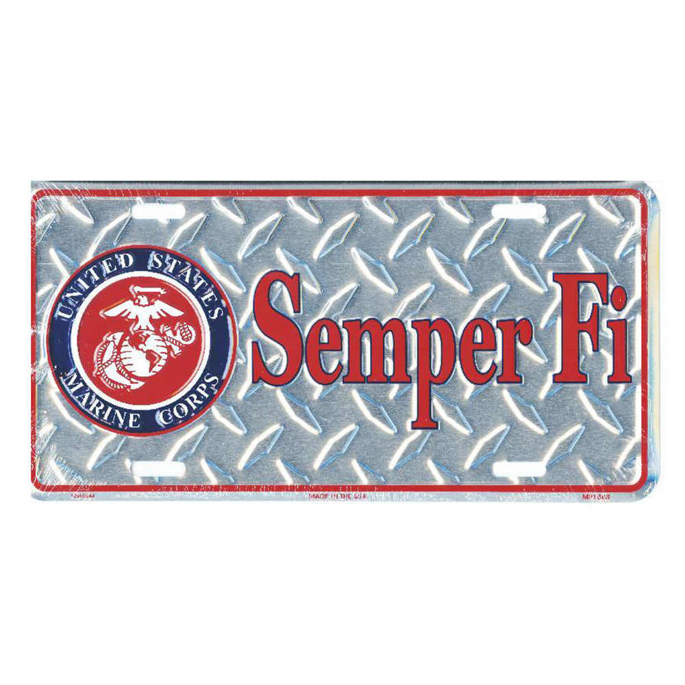 USMC Metal License Plate Semper Fi