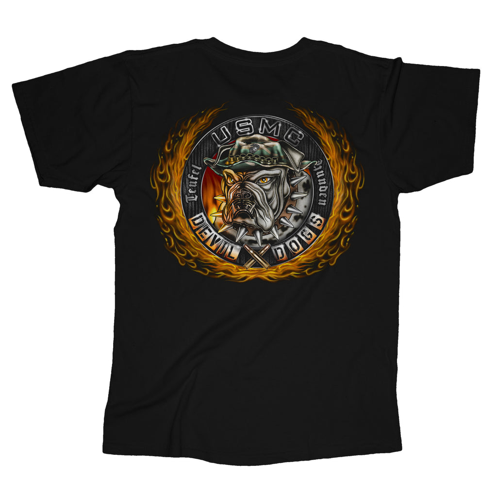 Devil Dogs Flames USMC Mens Tee-Black