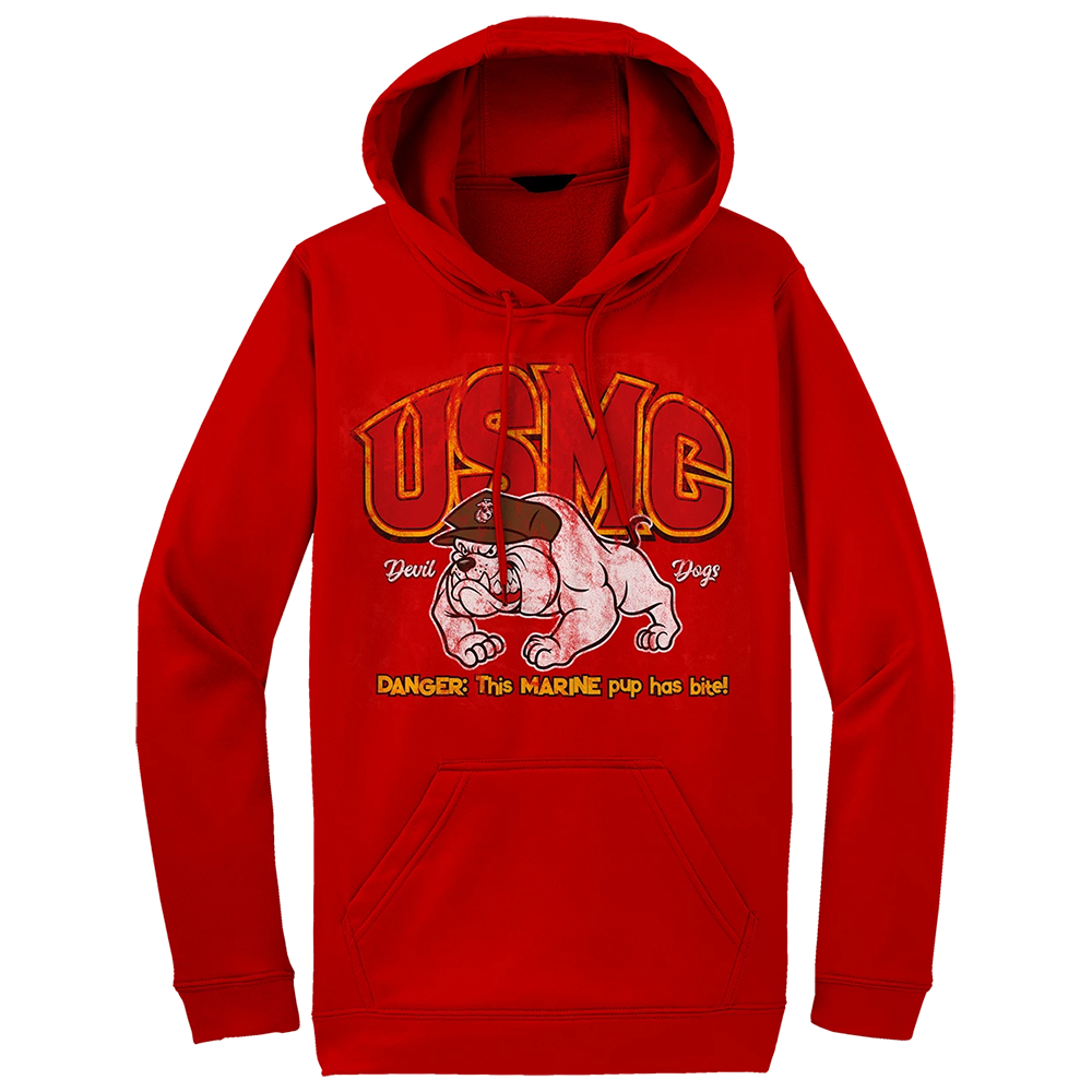 Pup Has Bite USMC Youth Hoodie-Red