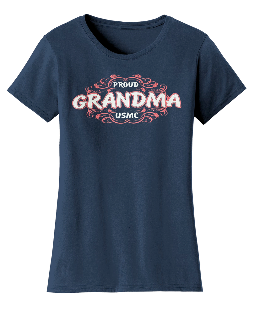 Proud Grandma USMC Ladies Tee-Navy