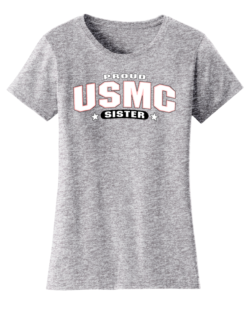 Proud USMC Sister Ladies Tee-GREY