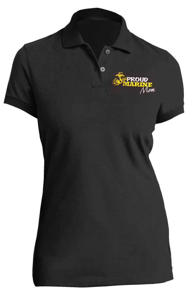 Proud Marine Mom USMC Ladies Polo-Black