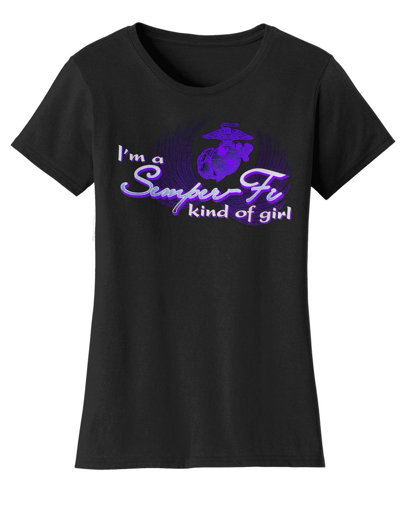 Semper Fi Girl USMC Ladies Tee-Black