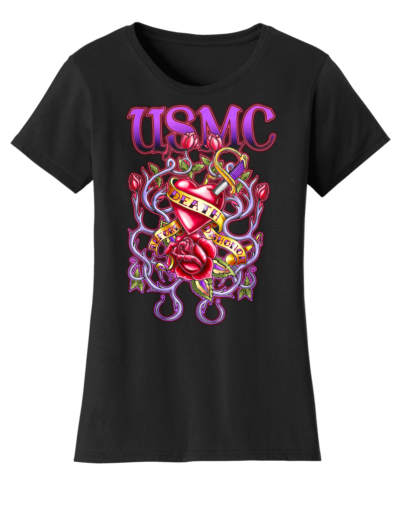 Tangled USMC Ladies Tee-Black