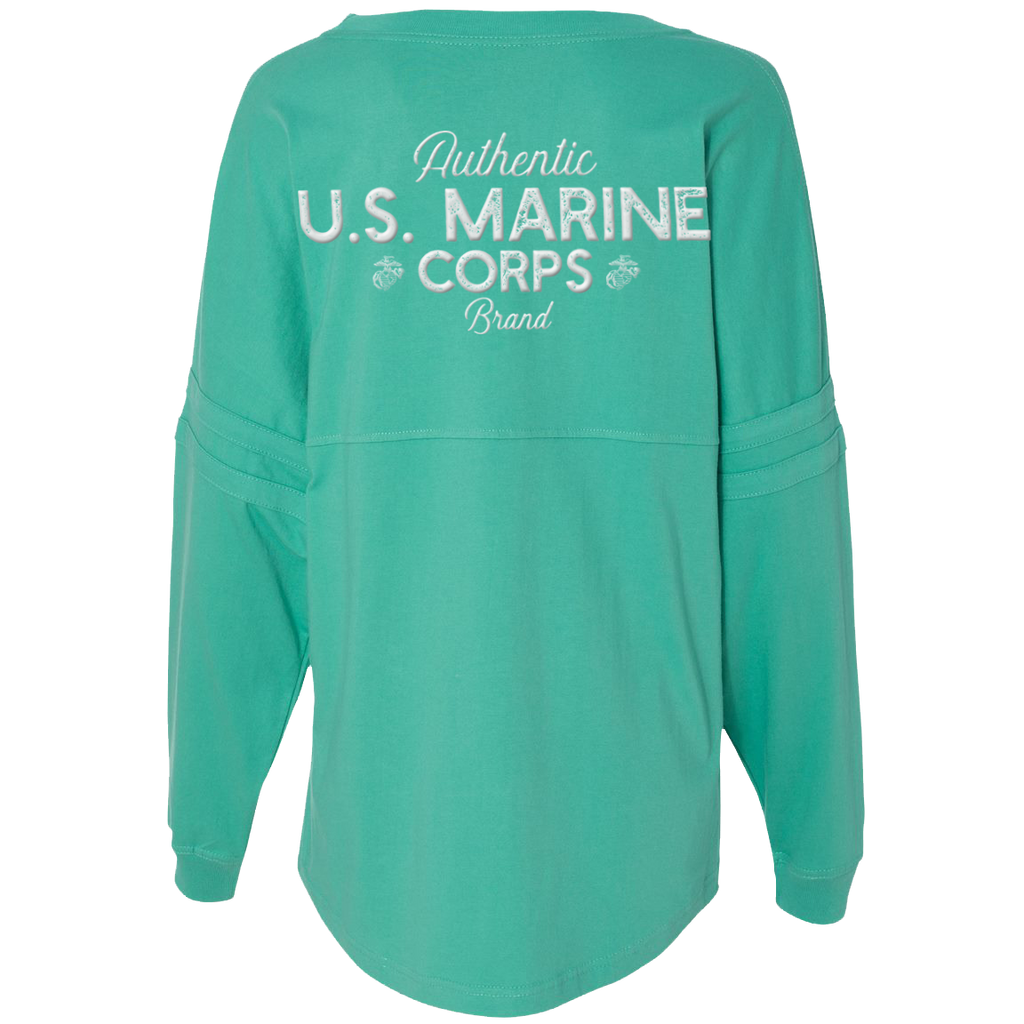 Authentic Pom Pom USMC Ladies Long Sleeve Jersey-Mint