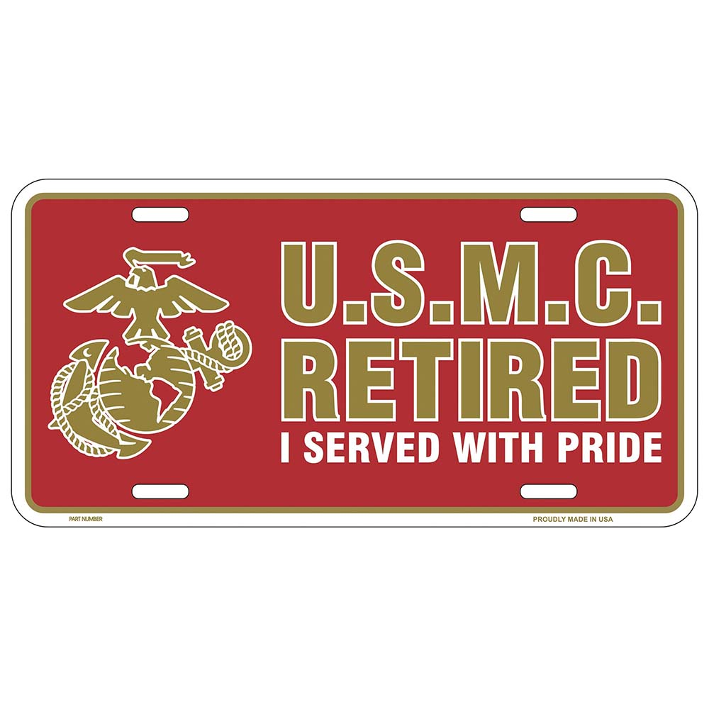 USMC Retired License Plate - I Served With Pride