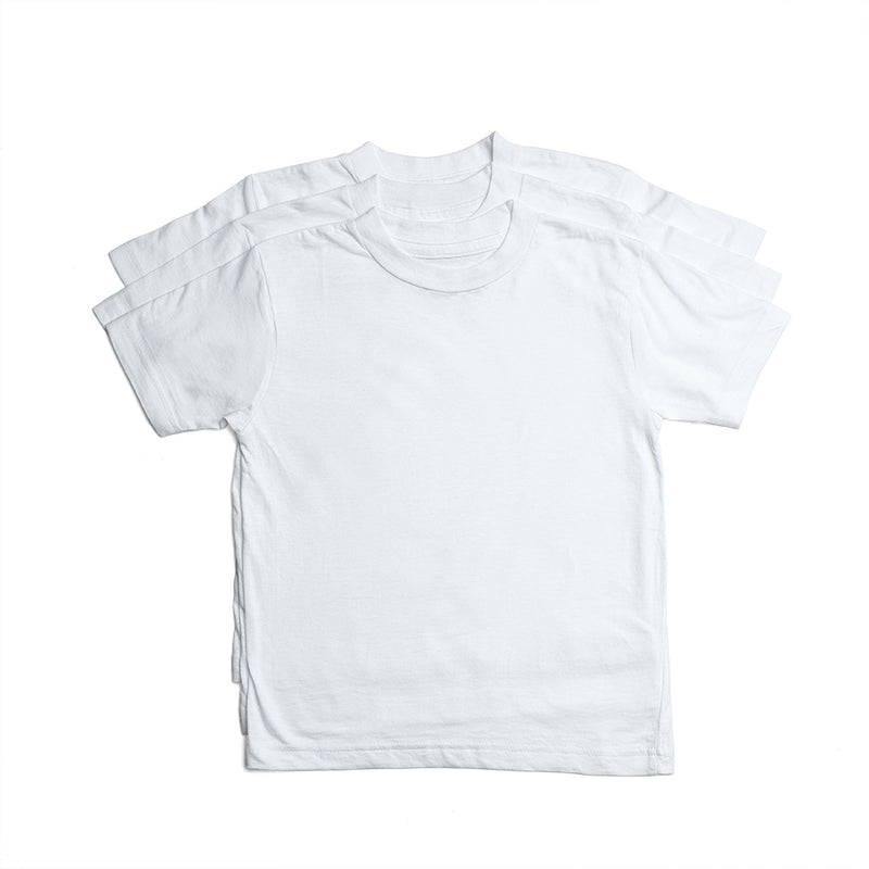 Crew Neck White (Youth) - 3 Pack
