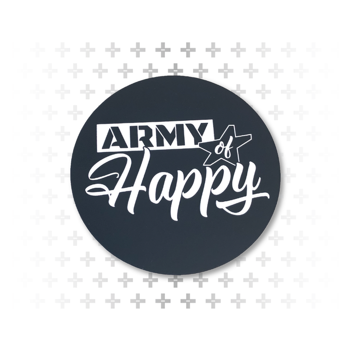 "Dueling Font Logo 3"" Sticker - Army of Happy"
