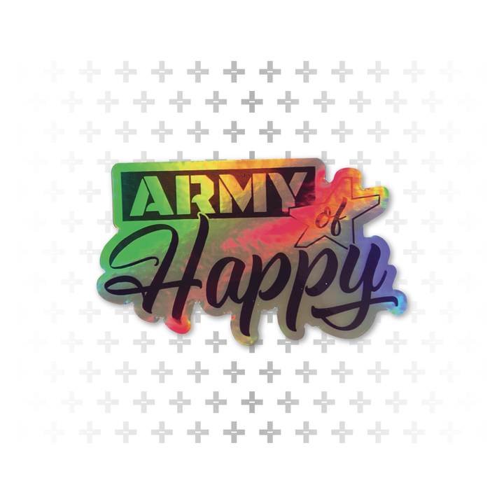 Dueling Font Hologram Sticker - Army of Happy